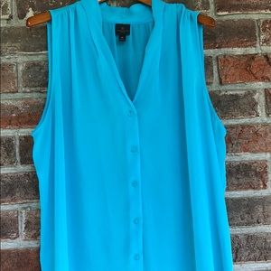 Blue button-down blouse (sleeveless)